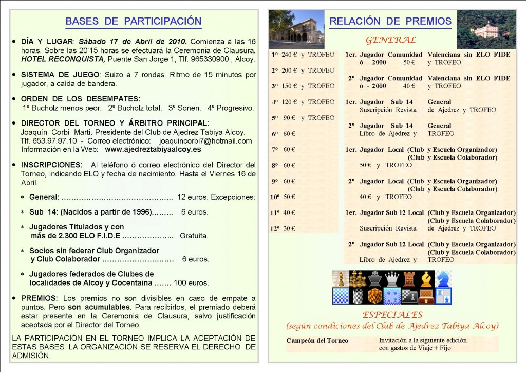 Folleto Torneo Internacional Tabiya Alcoy 2010 - interior